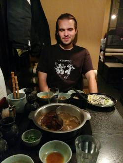 Eating an excellent sukiyaki diner with Nicholas.