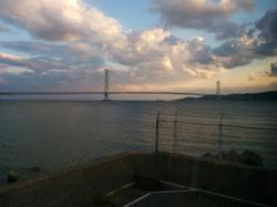 Ate dinner with a lovely view to the Akashi Kaikyo bridge.