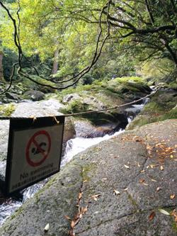 It's a waterfall... I don't really think that sign is necesary.