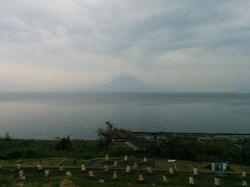A hazy view of Sakurajima.