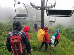 The chairlift was suspended, so everyone walked down together