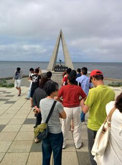 The queue for taking a photo at the northernmost point monument